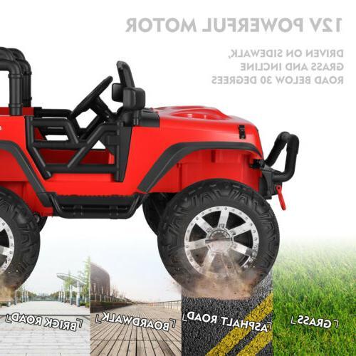12V Jeep Ride Truck Toy Spring Suspension RedRC