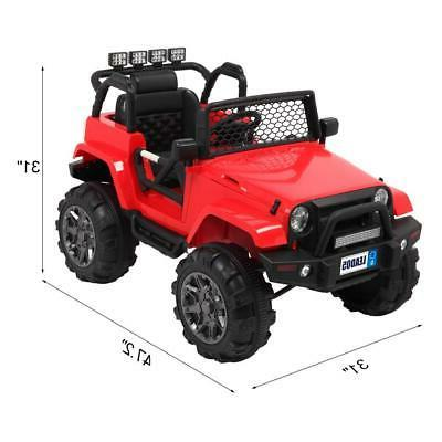 12V Kids Ride on Jeep Truck LED Music Remote RED