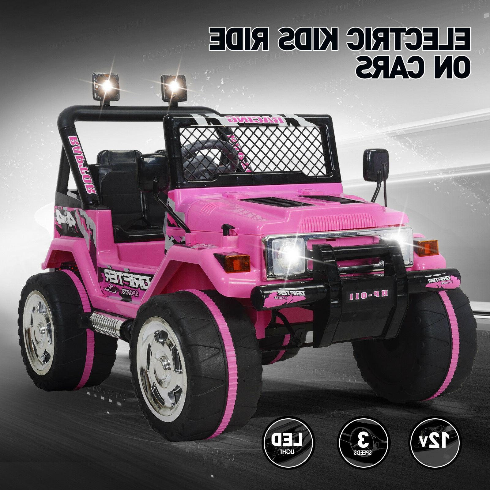 Kids Jeep Car 12V Electric Powered Wheels Toys Remote Pink