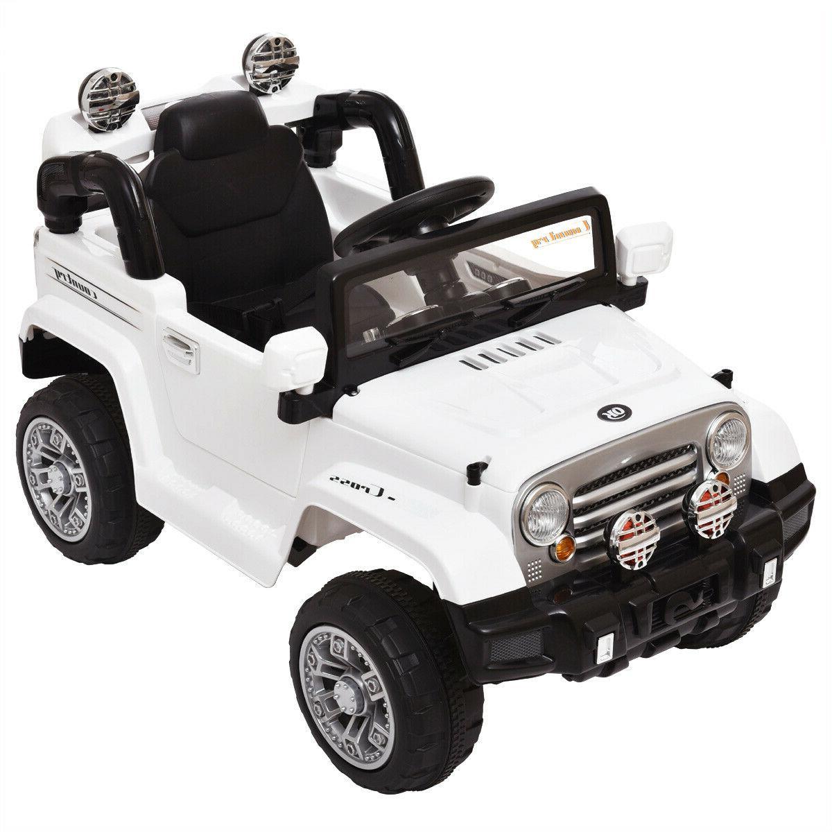 12V Kids On Car Battery Power Truck Control MP3 White