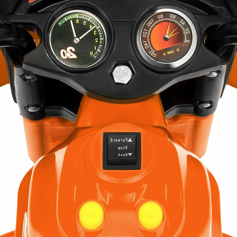 Kids 6V Battery Powered Motorcycle 3 Wheeler Scooter Light Ride