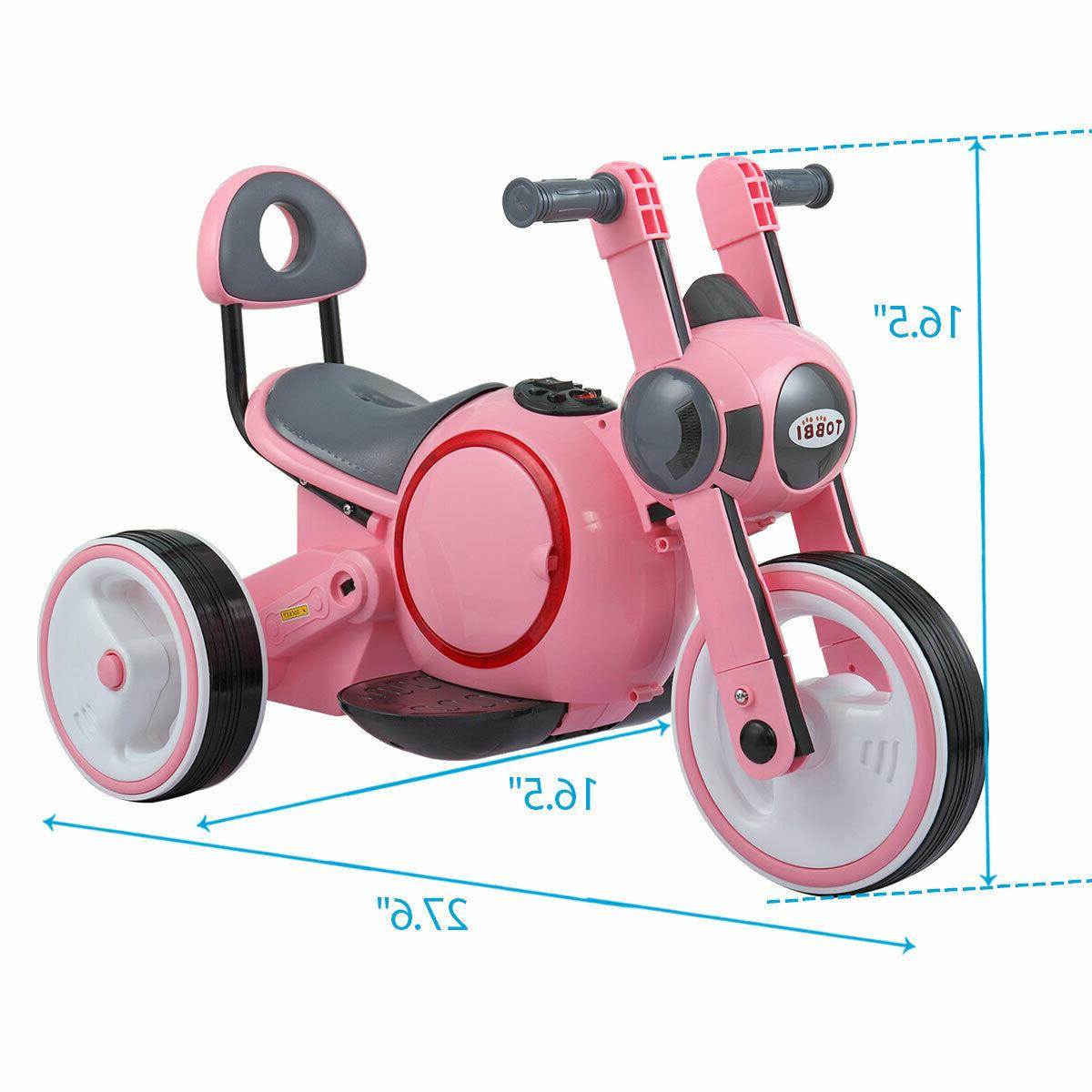 6V Kids On Motorcycle Toy Battery Powered w/Training Wheels