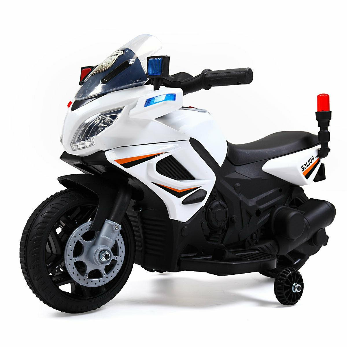 6V Kids Motorcycle Powered Electric Toy Car 2 Wheels White