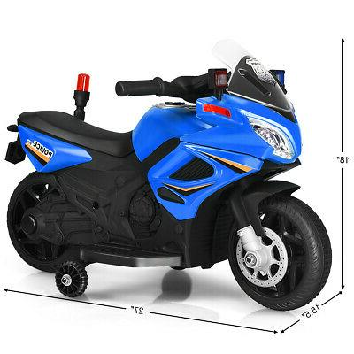 6V Kids Police Motorcycle 4-Wheel Electric Toy Wheels Blue