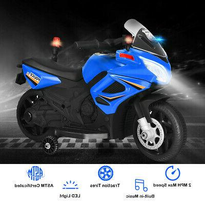 6V Ride Police Motorcycle Toy Wheels Blue