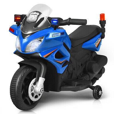 6V Police Motorcycle Toy Wheels Blue
