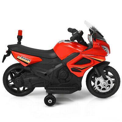 6v kids ride police motorcycle 4 wheel