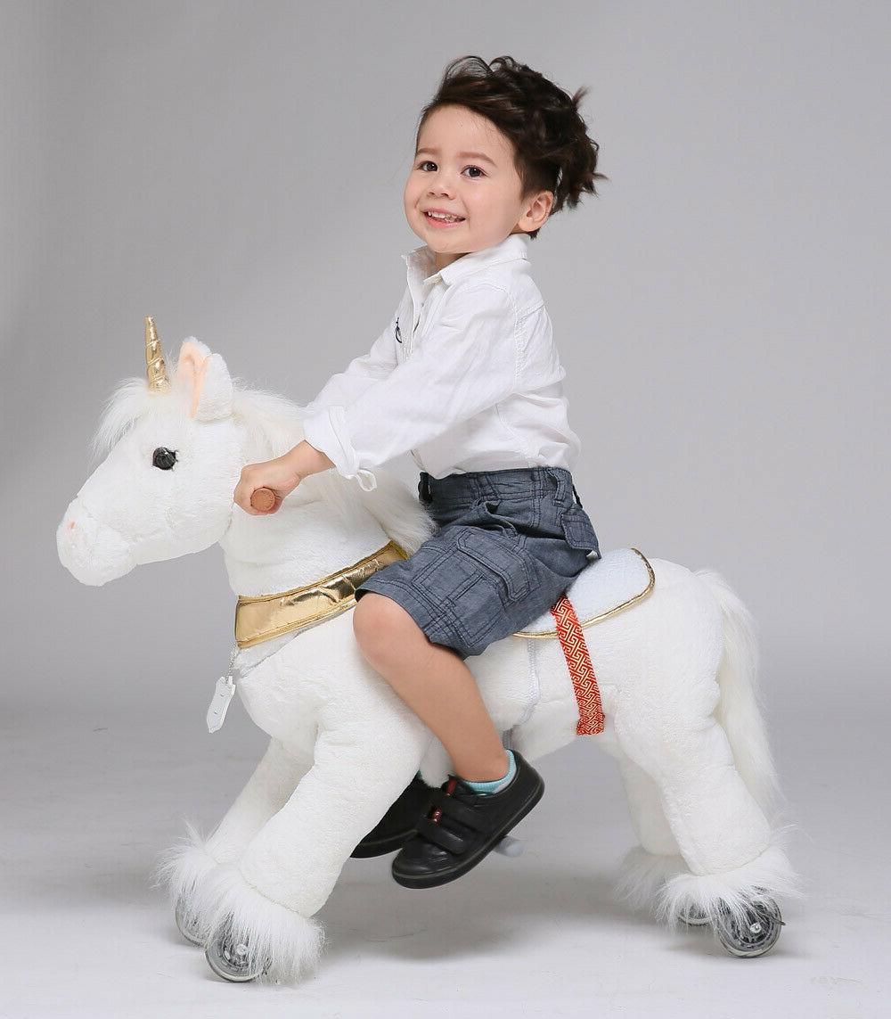 action pony ride on toys golden unicorn