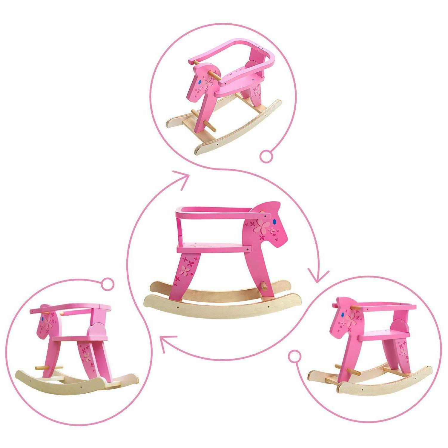 Labebe Ride Pony Pink Wooden Animal Chairs