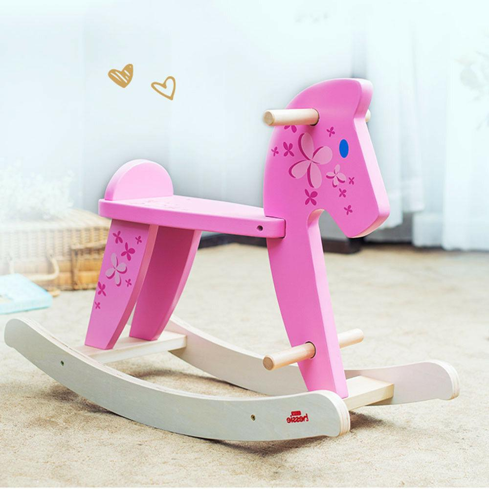 Labebe Baby Pony Rocking Toy Pink Wooden Chairs Gift