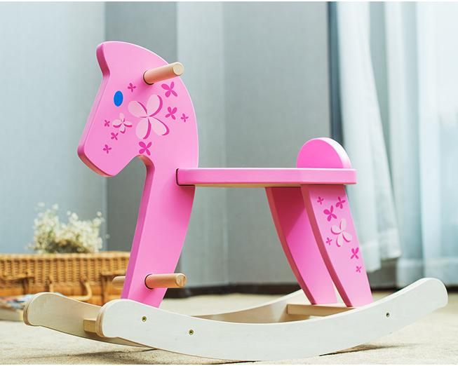 Labebe Pony Rocking Pink Wooden Animal Chairs