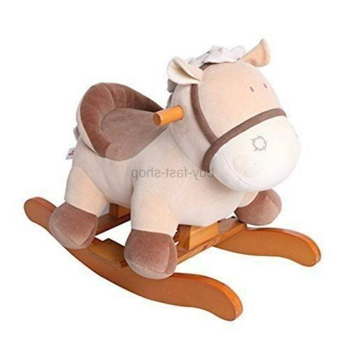 baby rocking horse plush kid ride on