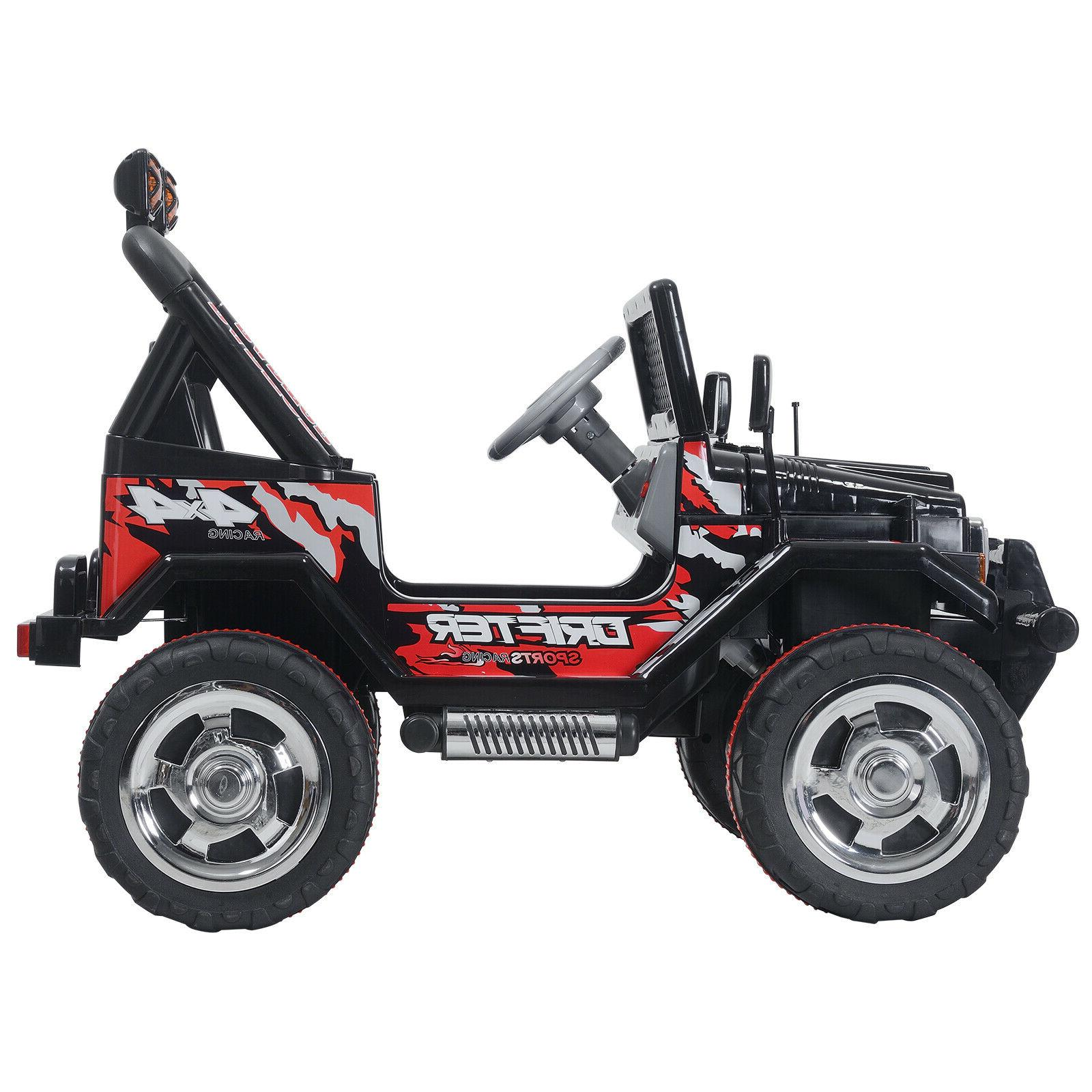 Black 12V Ride Car Electric Toys Jeep Remote 3 Speed
