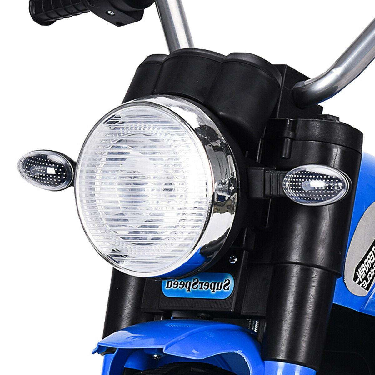 Blue Powered Electric On Motorcycle W/Training