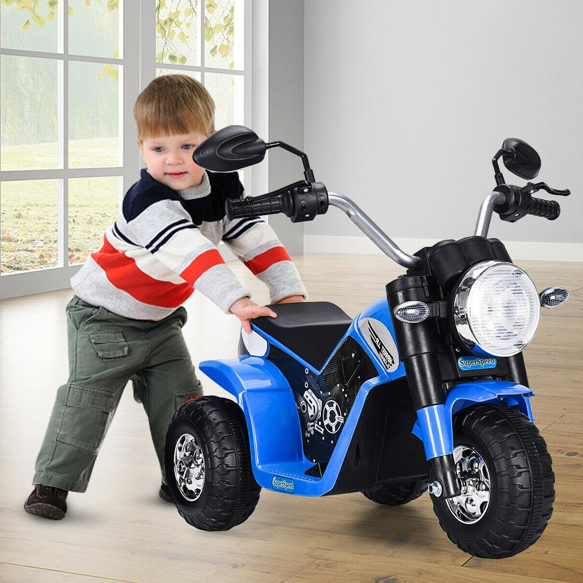 Blue Powered Electric Kids On Motorcycle