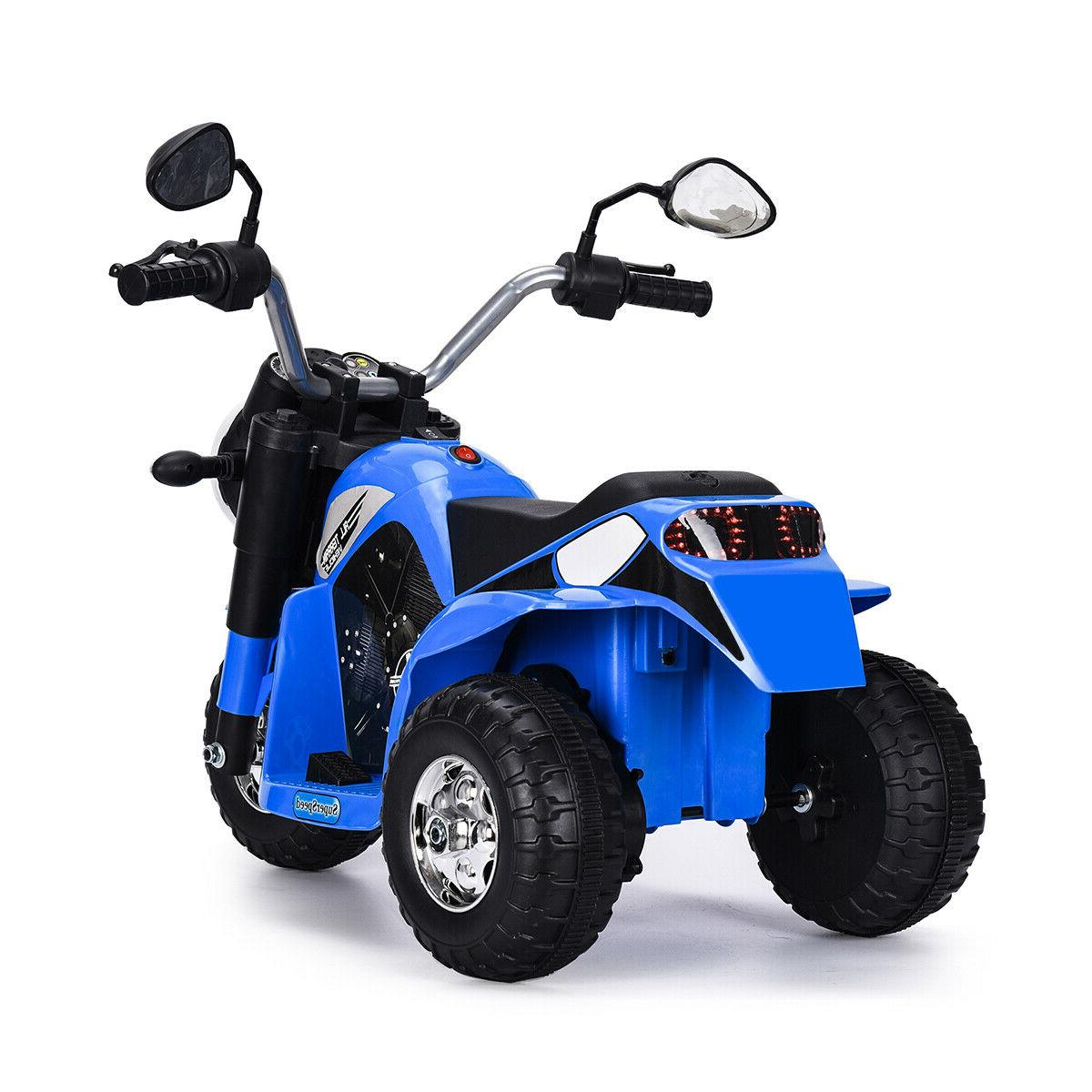 Blue 6V Powered On Motorcycle