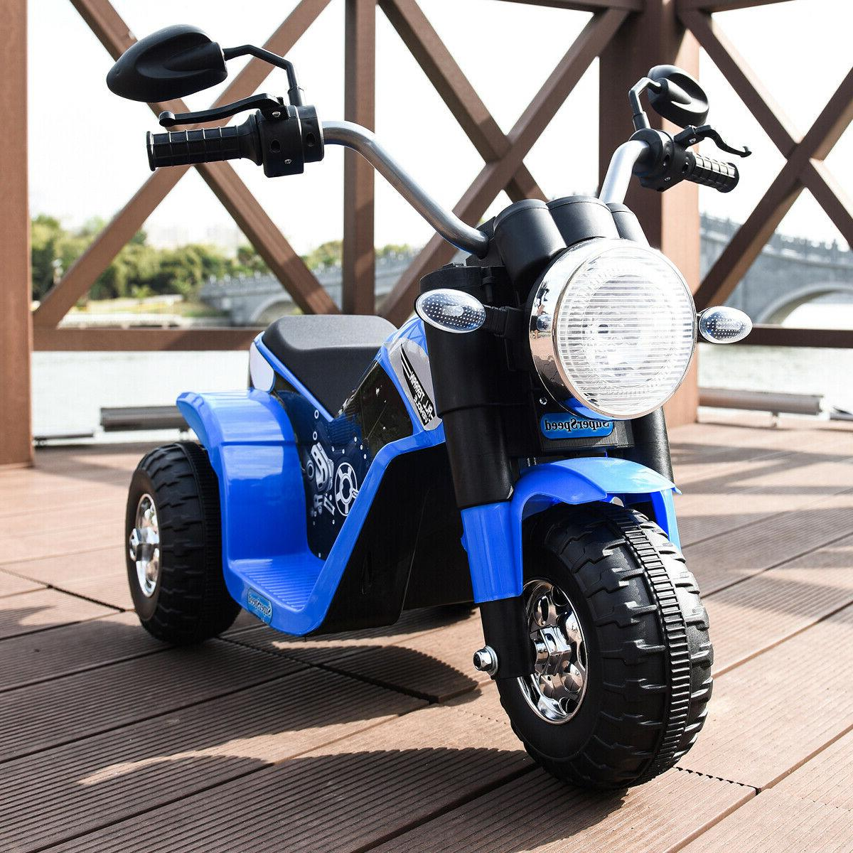 Blue 6V Toy Powered Electric On Motorcycle