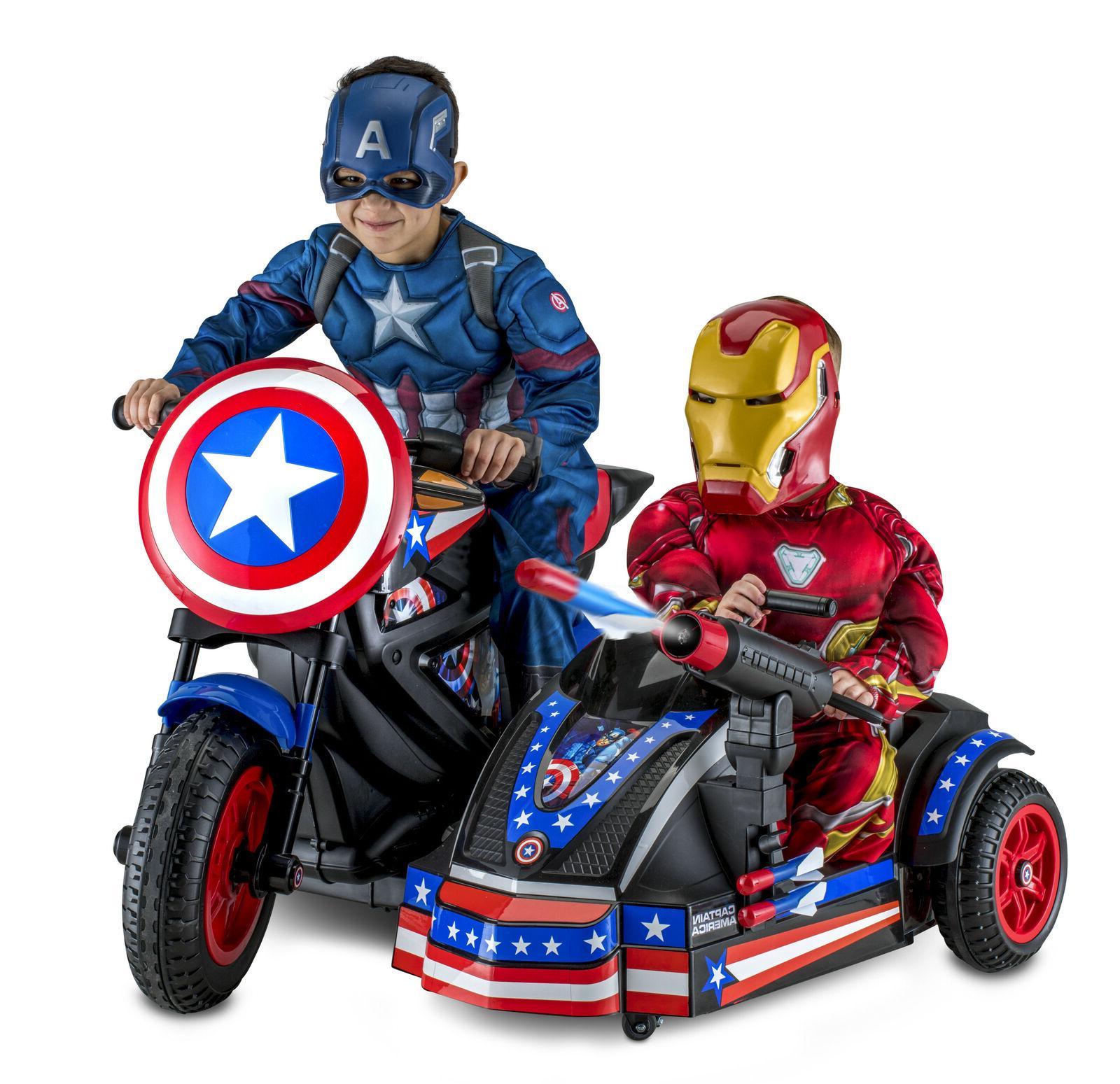captain america motorcycle sidecar kid ride on
