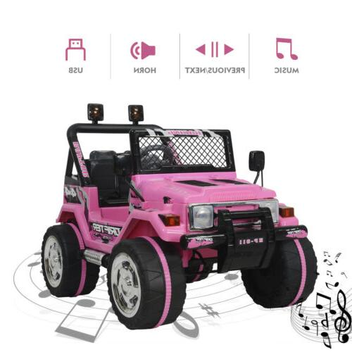 Electric 12V Kids Powered Ride On Toy Jeep Wheel Control Pink