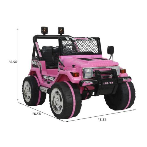 Electric Ride Jeep Battery Wheel Remote Control Pink