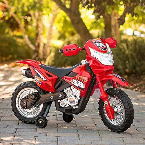 Best Kids Motorcycle Bike Toy w/ 2mph Max Training Lights, Charger Red