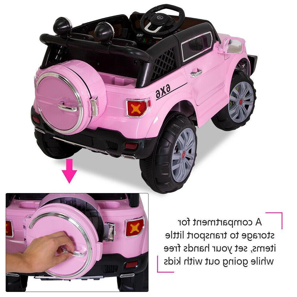 12V Kids Ride on Car Toys Truck LED + Remote Pink