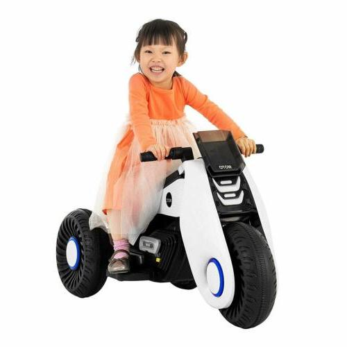 12V Electric Motorcycle Kids Ride on Cars With Drive White