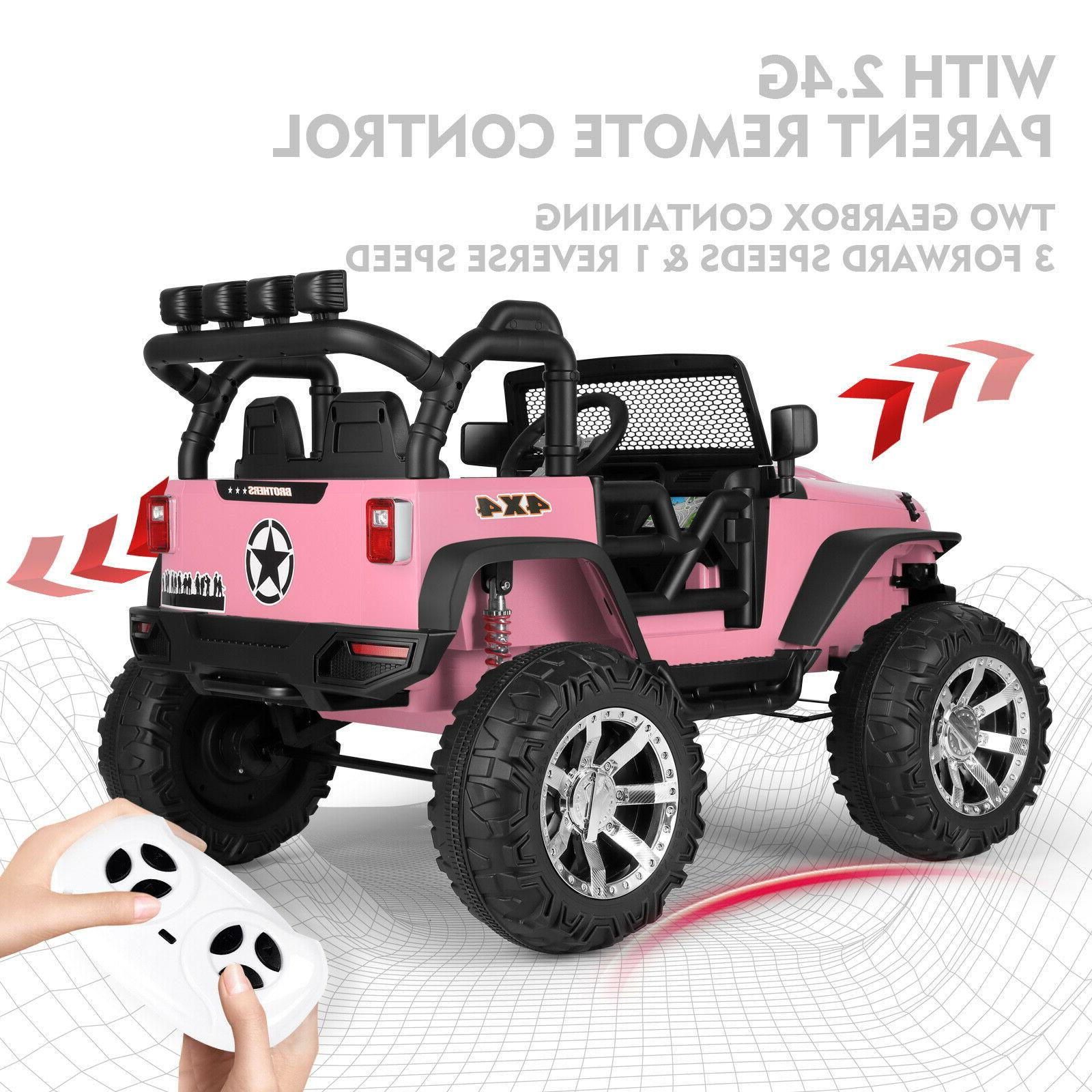 Pink 12V Car Jeep Toys LED w/Remote Girl