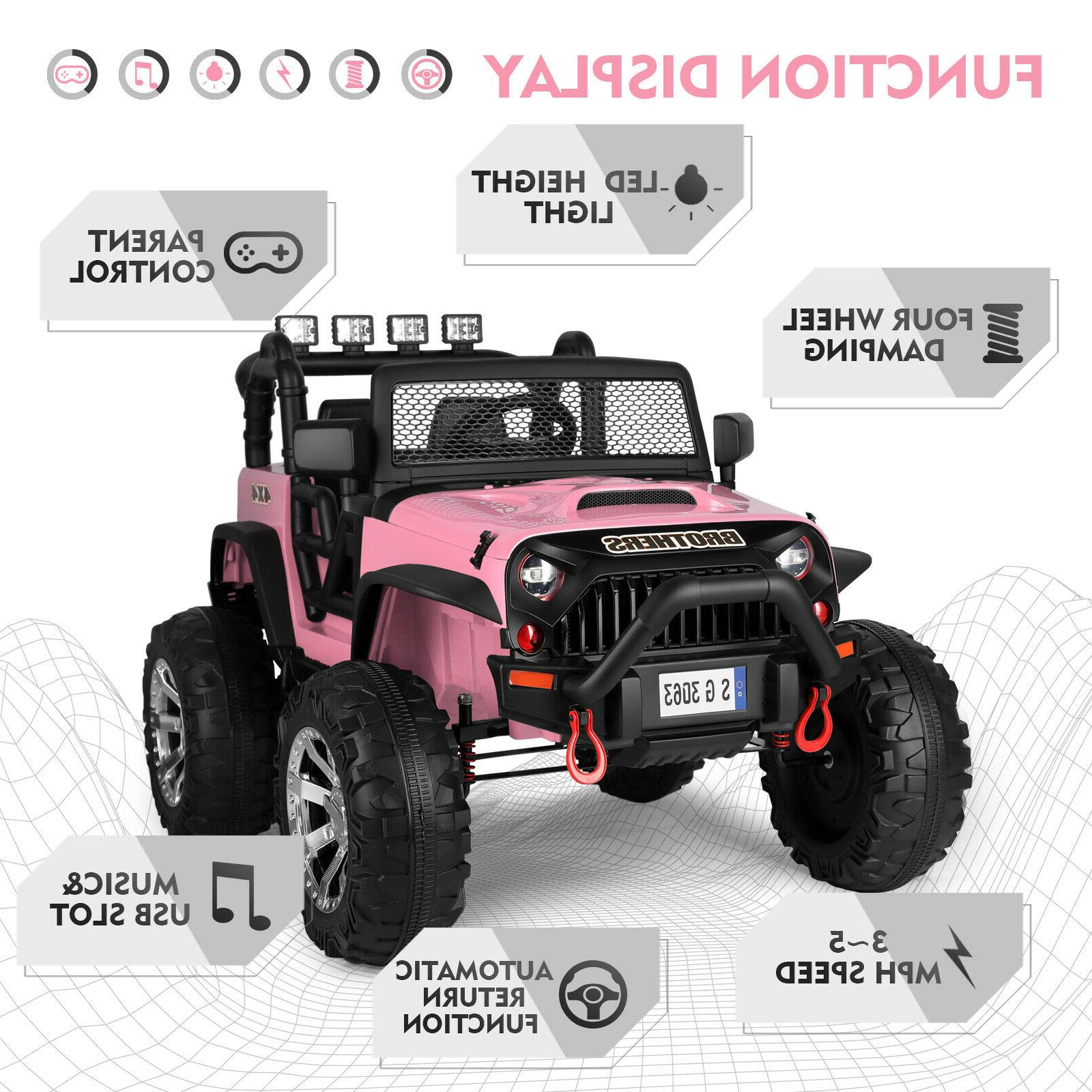 Pink 12V Kids Car LED w/Remote Girl