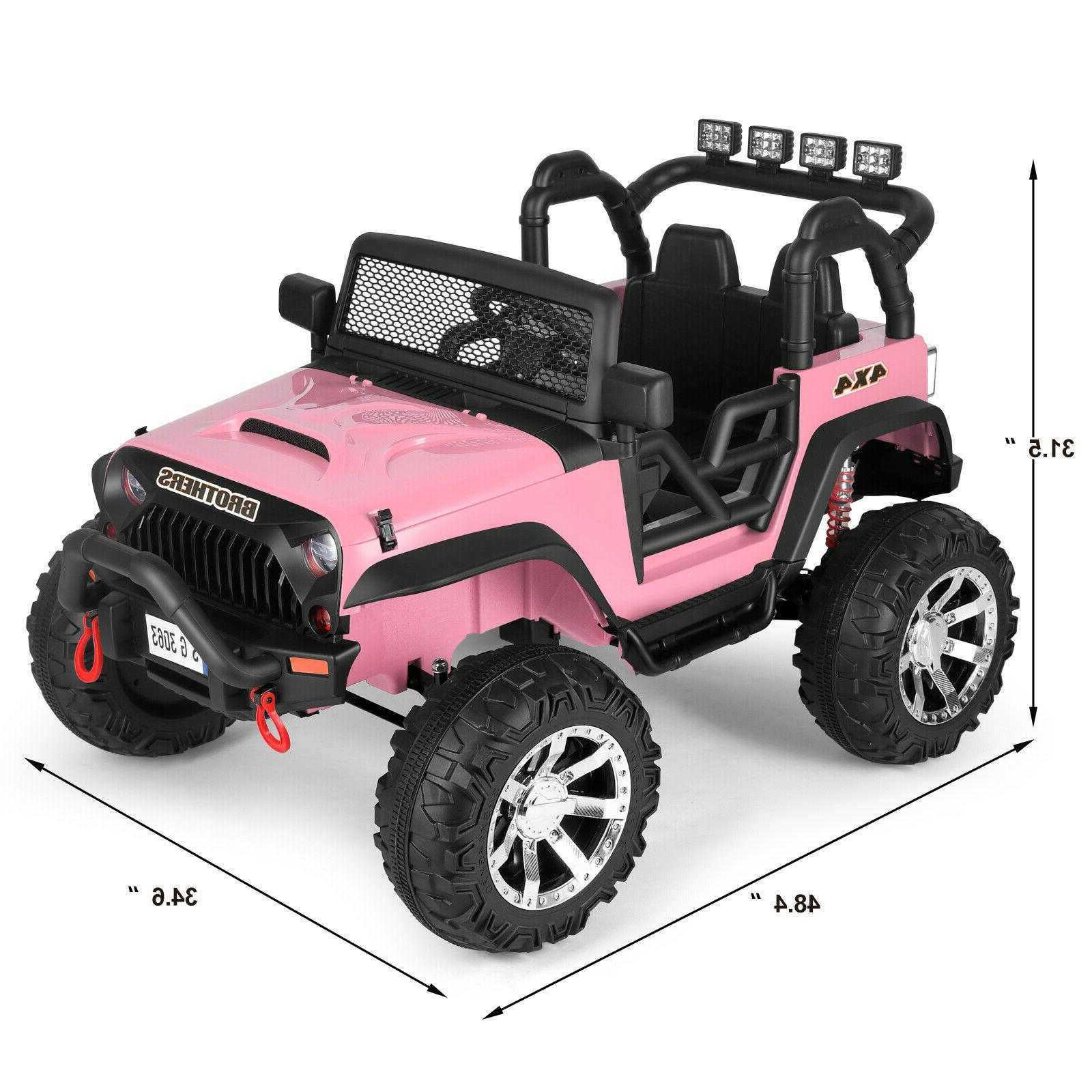 Pink Electric 12V Battery Kids Car Jeep LED Girl