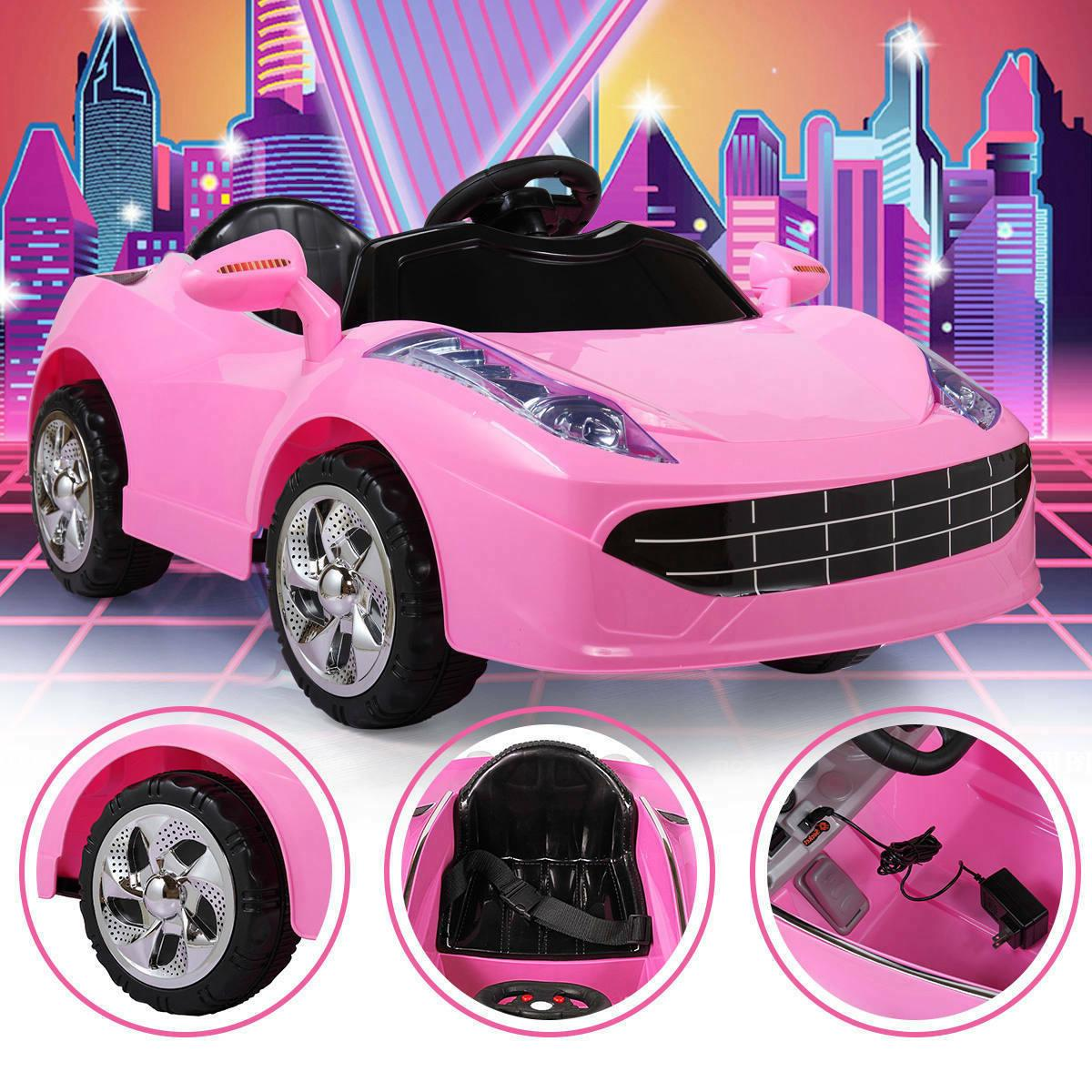 Pink Kids Ride on Car with Music Light RC Remote Control Pin