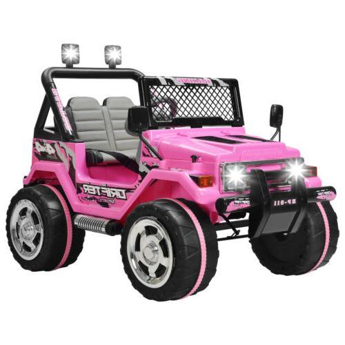 12V Cars Electric Wheel Remote Control USB Pink