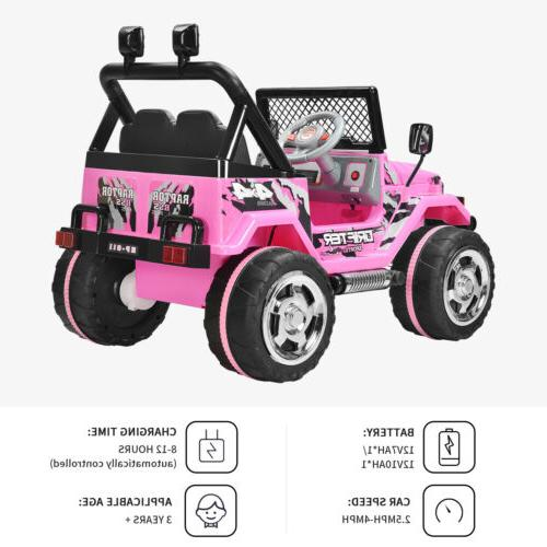 12V Cars Battery Power Wheel Control USB Pink