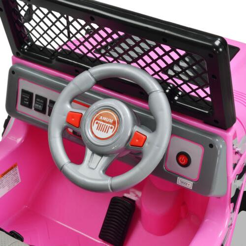 12V Kids Cars Electric Wheel Remote Pink