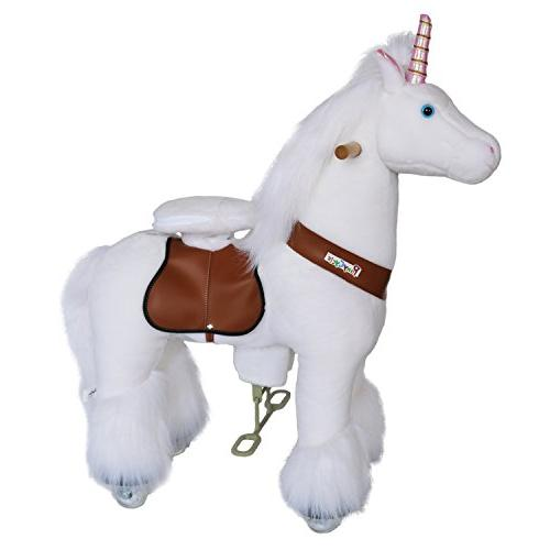 PonyCycle Official Horse Unicorn No Electricity Mechanical Unicorn White Medium Age 4-9