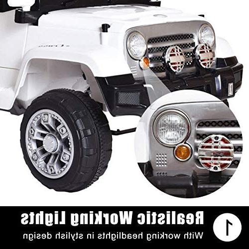 Tobbi Ride on Jeep Style Truck 12V Battery W/Remote White