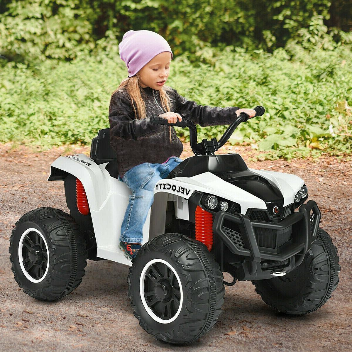 Ride On ATV 12V Battery Powered Cars Kids Electric Toys Truck White Boys Girls