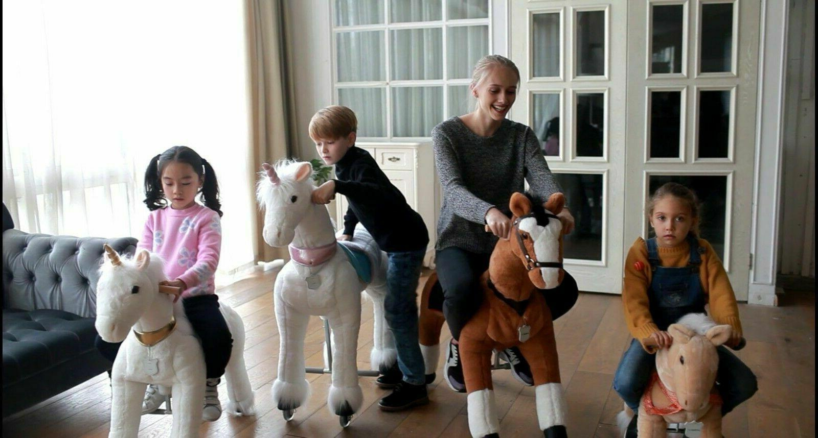 UFREE Horse 44''Large, Ride on anmals as Gift Kids,6-Adult,White