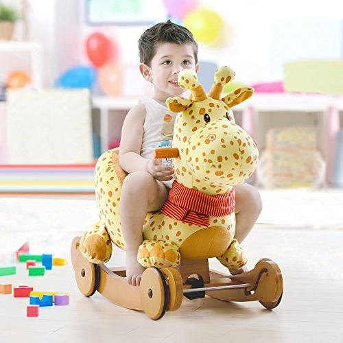 Labebe Horse Plush, Stuffed, Yellow Giraffe wheel Months, Rocking Horse/Rocker/Animal Ride/Deer for Boy&Girl