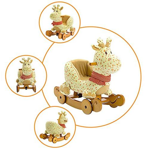 Labebe Rocking Plush, Fawn Rocking Stuffed, 2 in Yellow Giraffe Rocker with wheel Months, Toy/Wooden Rocking Horse/Rocker/Animal Boy&Girl