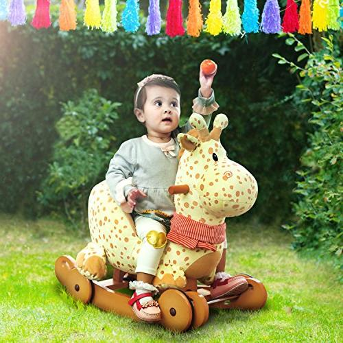Labebe Child Rocking Horse Plush, Stuffed, 1 Yellow Rocker wheel for Kid 6-36 Months, Rocking Rocking Boy&Girl