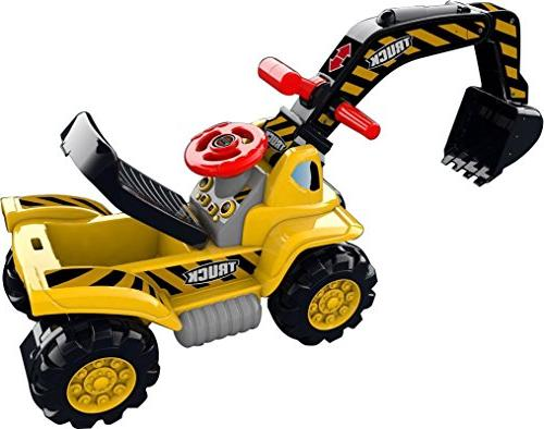 Play22 for Kids Ride - Scooter Bulldozer Includes Helmet with Rocks - Pretend Play - Tractor Truck