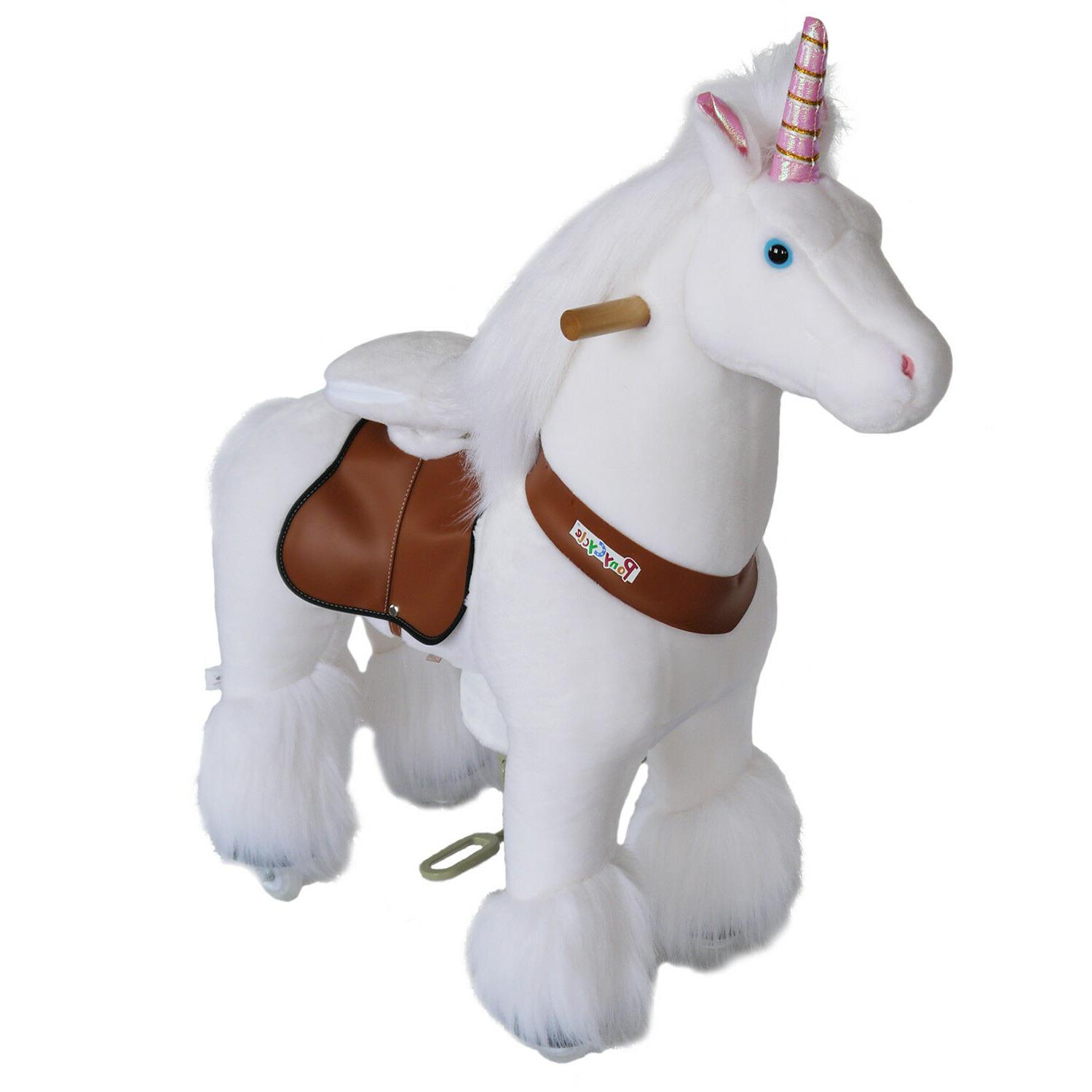 unicorn pink and white small ride on