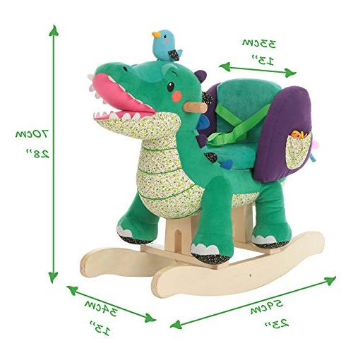 Labebe Child Toy, Stuffed Animal Green Crocodile Plush Toy Years, Wooden Rocking Chair/Child Rocking Toy/Outdoor Rocking Horse/Rocker/Animal Ride