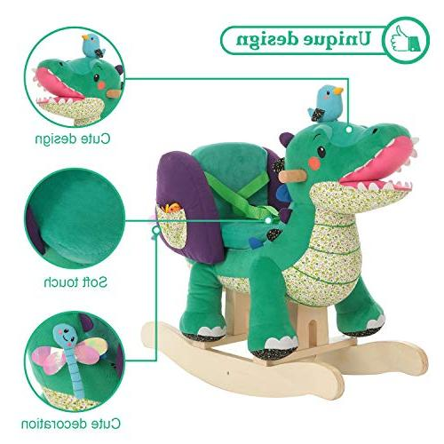 Labebe Rocking Toy, Stuffed Green Toy for 1-3 Years, Wooden Rocking Horse Chair/Child Rocking Horse/Rocker/Animal Ride