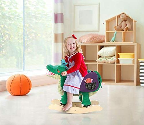 Labebe Horse Toy, Green Plush Rocker Toy for Years, Rocking Chair/Child Rocking Horse/Rocker/Animal Ride
