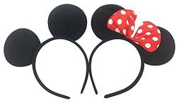 Perfec Mickey Mouse Ears Solid Black and Bow Minnie Headband