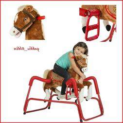 MUSICAL SPRING ROCKING HORSE Kid Bouncing Plush Pony Child B