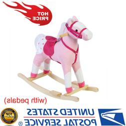 New Rolling Kids Gift Spring Rocking Horse Pink Ride On Pony