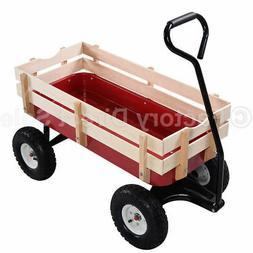 Outdoor Wagon ALL Terrain Pulling Children Kid Garden Cart w